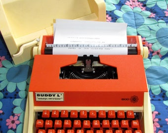 RARE Orange and Cream Buddy-L Easy-Writer 500 Portable Typewriter, Works Like New