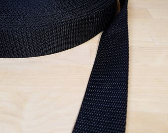 1.5 inch Polypropylene webbing By The Yard BLACK heavy duty strap material