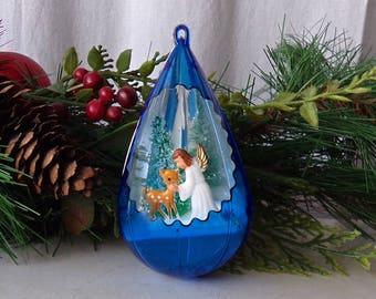 Vintage Blue Christmas Ornament Plastic Teardrop Reflective Angel and Deer Cutout Holiday Decor 1960s