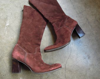 Vtg Brazilian Plum Brown Suede Leather Tall Zip Boots Womens Size 10 Western Inspired 90's