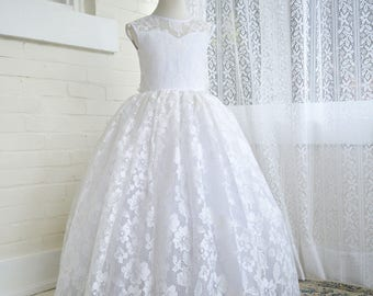 Ava First Communion Lace Gown with Petticoat