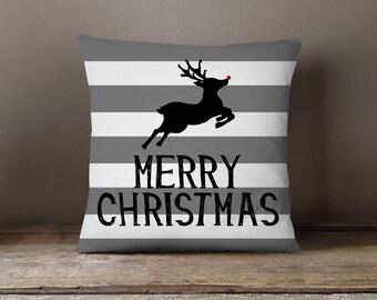 Holiday Pillow, Christmas Pillow, Reindeer, Stripes, Deer Pillow: Leaping Reindeer Deer Stripes Gray