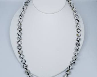 White beads splashed with black original, handmade necklace