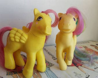Vintage G1 Pegasus My Little Pony yellow pair Floater and Skydancer  original eighties pastel girly toy