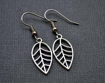 Silver Leaves . Earrings