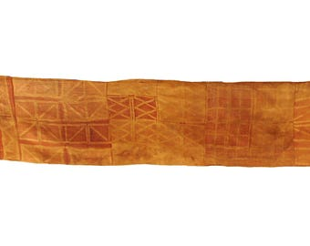 Kuba Raffia Textile Dyed Red Handwoven Congo African 15 Feet  117283