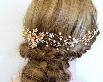 Gold or Rose gold Leaf Vine Bridal Headpiece. Boho Silver Crystal Pearl Wedding Wreath. Halo Headband. Rhinestone Floral Hairpiece. TEREZ