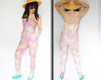 Halter Sunsuit is a Loose Pant Jumpsuit, 1980s Jumpsuit, Summer Cotton Jumpsuit, Strapless Capri Jumpsuit, Backless Playsuit, Elastic Waist