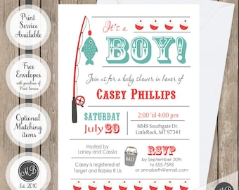 Boy fishing baby shower invitation, fishing theme baby shower, fishing pole invitation, fish baby shower invitation, baby boy fishing