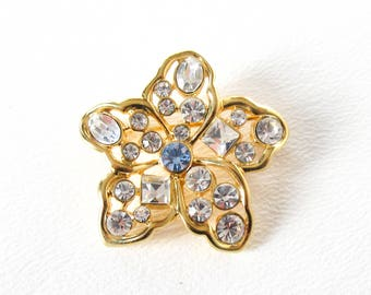 Nolan Miller Clear Rhinestone Pansy Pin Brooch Vintage Flower Jewelry