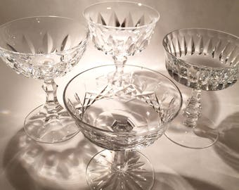 4 Vintage Cut Crystal Coupes