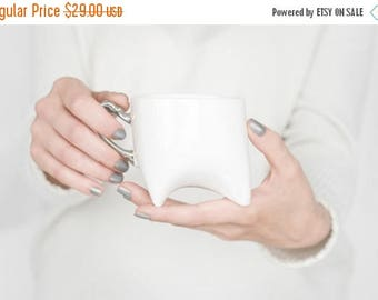 SALE Coffee cup - unique coffee mug or tea cup white with platinum, contemporary ceramic mug, handmade by Endesign