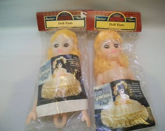Craft Supplies, Set of Two Pillow Dolls, Set of Two Large Cushion Dolls, Vintage Crafts Supply, Still in Original Packages, 8 inch Dolls