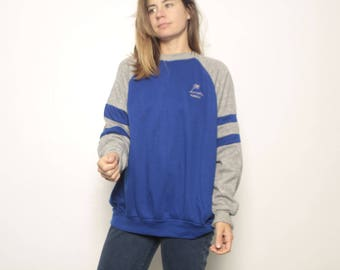 HAWAII maui vintage 80s striped TWO TONE blue & heather grey sweatshirt