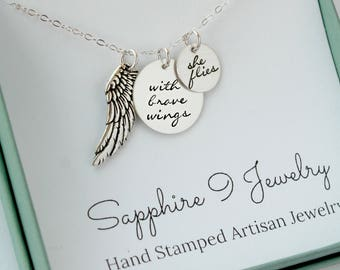 Personalized Quote Necklace - With Brave Wings She Flies Necklace - Quote Jewelry - With Brave Wings - Hand Stamped Quote Necklace - Wings