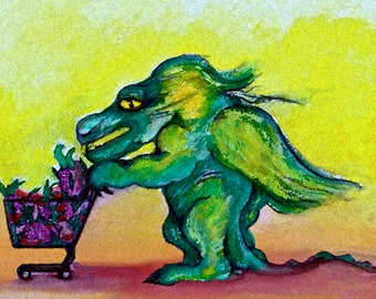 Dragon Fruit-Whimsical Fantasy Art Print by SQ Streater-Free Shipping