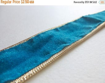 ilovesales Velvet Ribbon Trim in Turquoise- 1 Yard