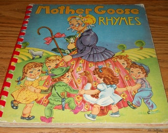 1943 Mother Goose Rhymes Childrens Book~48 Colorful Pages~Hardcover
