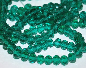 25 pcs 6x4mm Transparent Dark Green Rondelle Glass Beads TDG-4