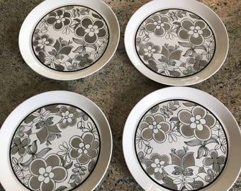 "4 Ben Seibel Mikasa Duplex Dinner Plates 10 3/4""  Black White Floral"