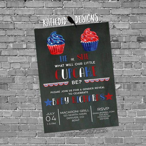 Gender reveal invitation cupcake Patriotic baby shower 4th of july red white due birthday bunting banner BBQ party 1480 chalkboard rustic