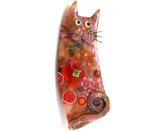 Cat brooch named Octavia, gift idea for cat lovers, animal brooch, poppies, artisan cat jewelry, polymer clay cat broochOrange tangerine Red