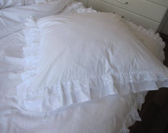ruffle euro pillow sham king pillow sham- white ivory cotton lace ruffle trim ruffled SHABBY chic bedding pillowcases