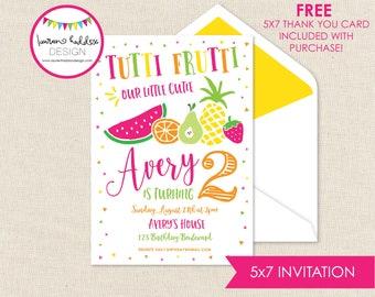 Tutti Frutti Birthday Invitation, Tutti Frutti, Tutti Frutti Birthday, Tutti Frutti Birthday Decorations, Lauren Haddox Designs