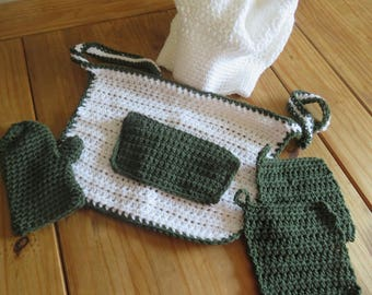 5 Piece Green and White Crochet Chef Set-Apron, Hat, Mitt and Oven Mitts