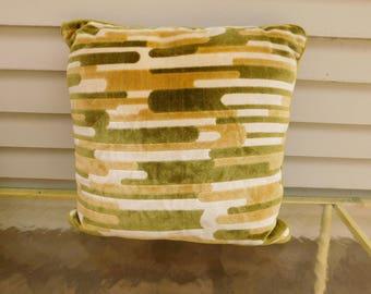 Vintage Mid Century Mod Throw Pillow, Green Velvety Velour Pillow