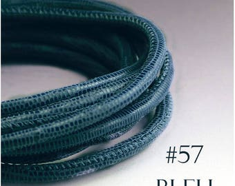 By the foot Denim blue leather cord 4mm Lizard print leather Nappa leather cord 4 mm round stitched leather