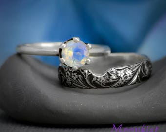 Round Rainbow Moonstone Crown Mount Solitaire with Silver Pattern Band Engagement Set - Sterling Silver Solitaire Ring with Fitted Band
