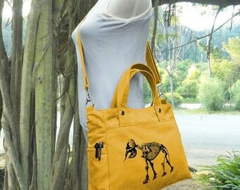 On Sale 20% off Golden canvas messenger bag / shoulder bag / laptop bag / brief case / diaper bag / tote bag / travael bag