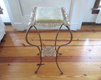 Vintage Victorian Cast Iron, Marble Table/Plant Stand