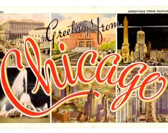 Greetings from Chicago Illinois Vintage Postcard