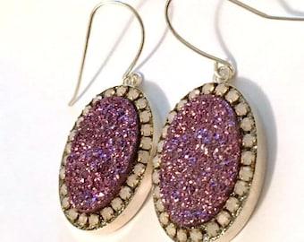 SUMMER Sale Metallic pink purple druzy sterling silver earrings