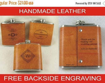 ON SALE Groomsman Flask or Best Man Flask - Personalized Flask Handmade Leather Flask with FREE Backside Engraving!