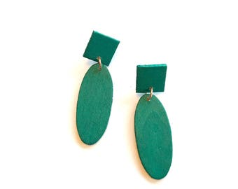 Green Wooden Earrings