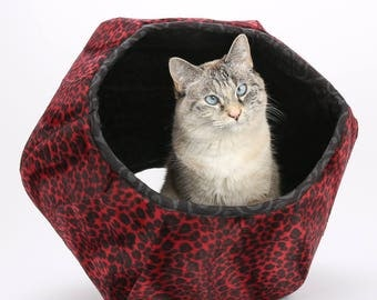 ball bed. red leopard fur cat bed - faux pet cave with two ball c