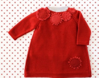 ON SALE Knitted baby dress in red with felt flowers. 100% merino wool. READY To Ship size 1-3 months