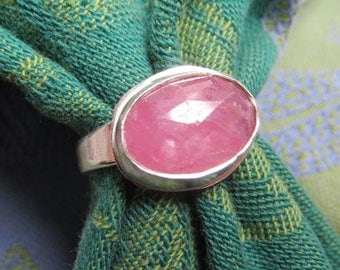 Rose Cut Bright Pink Sapphire in Sterling Ring Size 8 and a Quarter