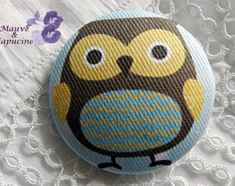 Owl printed fabric button, 24 mm / 0.94 in diameter