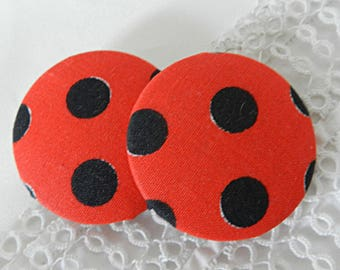 Button in red polka dot black, 40 mm / 1.57 in