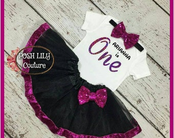 Baby girl one birthday Outfit, hot pink and black tutu, black and hologram pink  birthday tutu set, black and pink smash cake outfit