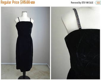 Memorial SALE - 15% off - vintage 50s black velvet rhinestone wiggle sheath bombshell formal cocktail evening sexy gown dress LBD-- womens 3