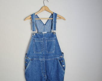 vintage 90s denim jean bib overalls pants dark wash dungarees-- womens oversize medium
