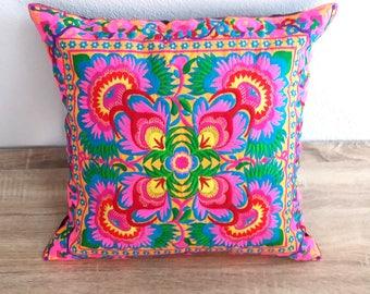 Hmong Pink Thai Embroidered Hobo Boho Cushion Pillow Cover