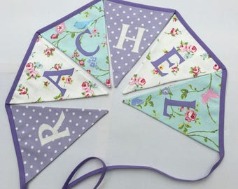 Personalised Bunting, Personalized Name Banner, white Rosebud, Aqua and BirdTrail, Lilac Polks Dots, Please select amount of flags