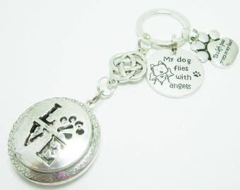 Pet Memorial Keychain Love Pet Paw Locket Aromatherapy Oil Diffuser My Dog Flies with Angels Pet Paw Charms 281