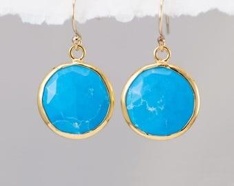 Blue Turquoise Earrings - December Birthstone Earrings - Round Gemstone Earrings - Gold Earrings - Drop Earrings